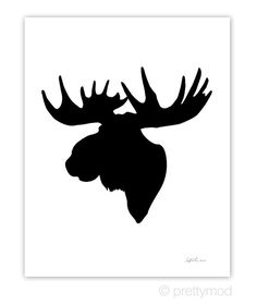 Moose Head Silhouette Print Color on White by prettymod on Etsy