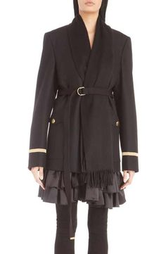 Givenchy Wool Flannel Military Jacket with Attached Cashmere Scarf