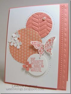 handmade card ... white and peach ... Paper Players challenge ... circles ... delightful card ... Stampin'Up!