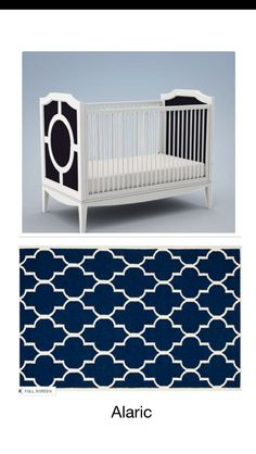 Ordered two navy / white Moroccan rugs to arrive in Dec - need to decide between the two. Crib color will be customized to match the rug. Nursery Decor Boy, Moroccan Rugs, Navy And White, Cribs, Two By Two, Kids Rugs, Bed, Furniture, Color