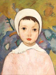 Nicolae Tonitza, Fetiță cu bonetă albă, [1924-1925] Figure Painting, Portrait, Children, Turning, Tube, Paintings, Lady, Blog, Romania