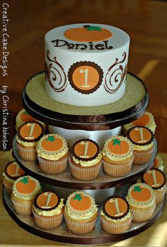 Fall Birthday Tower by Creative Cake Designs (Christina) ; (omit numbers and this works for anyone of any age) Pumpkin Birthday Cakes, Fall Birthday Cakes, Pumpkin Patch Birthday, Halloween First Birthday, Pumpkin Patch Party, Pumpkin Birthday Parties, Pumpkin First Birthday, 1st Boy Birthday, October Birthday