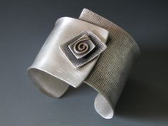 """Square on Cuff"" Sterling Silver & 14K Gold Cuff - B Nelson Designs Store"