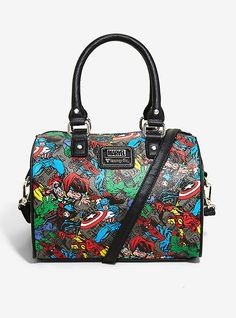 a2c5556d7d95 Loungefly Marvel Avengers Tossed Character Print Barrel Bag. Black Faux  LeatherMy BagsPurses ...
