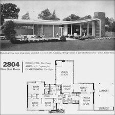 Studio Floor Plans, Modern Floor Plans, House Floor Plans, Midcentury Modern House Plans, Mid Century Ranch, Mid Century House, Modern Ranch, Mid-century Modern, Contemporary