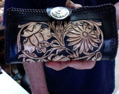 Wallet / Women / Western / Hand Carved and Tooled / Custom / Flowers / Black / Leather, Clutch / Hand Made / Woman / Sheridan /  Checkbook