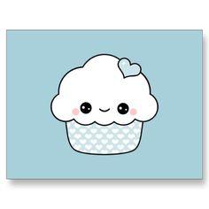 Kawaii Blueberry Cupcake Postcards