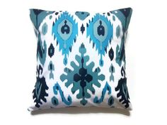 Decorative Pillow Cover One Turquoise Teal White Navy Blue Ikat 18 inch Toss Throw Accent Cover on Etsy, $20.00
