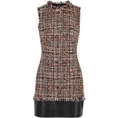 Alexander McQueen Tweed And Leather Dress - Size 12 (€2.410) ❤ liked on Polyvore featuring dresses, alexander mcqueen, genuine leather dress, tweed dress, multi color dress and multi print dress