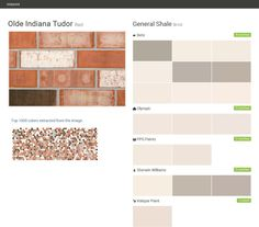 Olde Indiana Tudor. Red. Brick. General Shale. Behr. Olympic. PPG Paints. Sherwin Williams. Valspar Paint.  Click the gray Visit button to see the matching paint names.