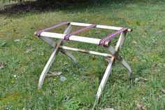 Vintage Luggage Stand Folding Wooden White Gold Greek Key