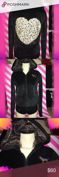 PINK Victoria Secret black  bling zip up jacket PINK Victoria Secret black  bling zip up jacket PINK Victoria's Secret Tops Sweatshirts & Hoodies