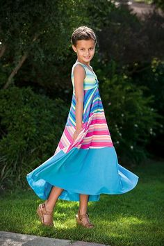 This cute girls maxi dress is from TwirlyGirl. Fun and comfortable, this versatile dress is perfect for formal or causal wear. $66 Click to see more versions.