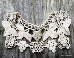Antique Ivory Crocheted Lace Grape Vineyard Motif Collar