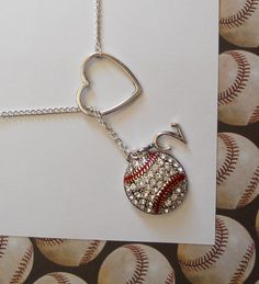 MUST HAVE!! Baseball Lariat Necklace with Rhinestones Heart by melissawuest, $27.50