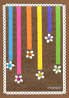 colorful stripes and flowers card