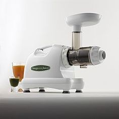 "Omega's 8004 Nutrition Center has an exclusive ""dual stage"" masticating extraction method. It has a low rotation speed of 80 RPM's and continuous juicing with automatic pulp ejection. High juice yield with very dry pulp and with less foaming than other double gear juicers. This unit is engineered for quiet operation and long life and with heavy duty commercial construction."