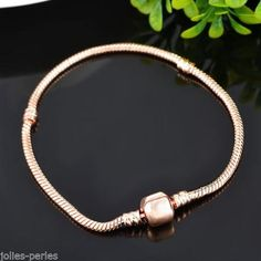 5PC Fashion Rose Gold European DIY Snake Chain Fits Charm Bracelet 19cm Long