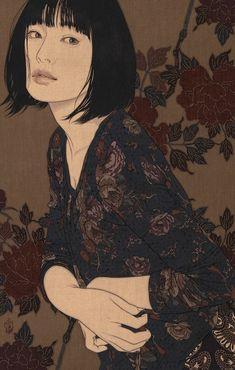 Illustration by Ikenaga Yasunari, Japan 🇯🇵 Japanese Art Prints, Japanese Art Modern, Japanese Painting, Chinese Painting, Japan Illustration, Fantasy Illustration, Botanical Illustration, Art Occidental, L'art Du Portrait