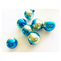 Vintage Shabby Chic Aqua Blue Glass Christmas Ornaments, Set of Seven, Romantic Home, Olives and Doves ($79) found on Polyvore featuring home, home decor, holiday decorations, turtle dove ornaments, olive bowl, glass christmas tree ornaments, glass christmas ornaments and aqua home decor