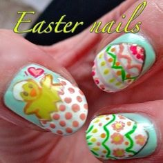 easter nail art by sammystaines from Nail Art Gallery Easter Nail Designs, Easter Nail Art, Cool Nail Designs, Spring Nail Art, Spring Nails, Nail Art Diy, Cool Nail Art, Different Types Of Nails, Finger Nail Art