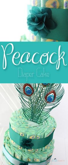 Peacock Diaper Cake- please, Oh please, stop wrapping diapers in tiny rolls.. It's so frustrating for a new mom to unroll them and try to put curled up diapers on a squirmy baby.
