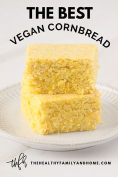The BEST Homemade Vegan Cornbread - Healthy Vegan Bread Recipes - Homemade Bread Classic Cornbread Recipe, Vegan Cornbread, Homemade Cornbread, Sweet Cornbread, Cornbread Muffins, Cornbread Recipe No Butter, Best Healthy Cornbread Recipe, Homemade Breads, Butter Recipe