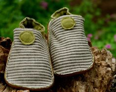 Hemp Organic Cotton Baby Shoes Soft Sole Toddler Shoes Brown Stripes Olive Green