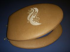 Embroidered padded toilet seat - CloudSoft brand. Autumn Leaves Beige on Natural $108.75