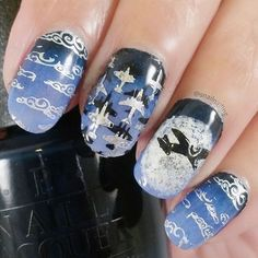 unique nail art by @snailnailing on Instagram using Messy Mansion Nail Stamping Plate MM35