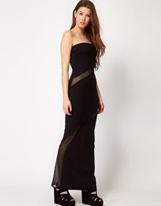 Quontum Bandeau Maxi Dress With Mesh Inserts