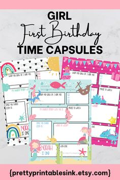 Capture memories for your little one to treasure for years to come with our printable customized first birthday time capsules! Name, age and questions can be customized - all you have to do is print! #firstbirthdayparty #firstbirthdaypartyideas #1stbirthday #girlfirstbirthday #girlbirthdayparty #girlbirthdayideas #birthdaypartyideas #kidbirthdayparty #birthdaytimescapsule Kids Birthday Party Invitations, Birthday Party Themes, Girl First Birthday, First Birthday Parties, Party Activities, 1st Birthdays, Time Capsule, Printable Invitations, Party Ideas