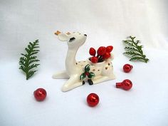 vintage Lefton deer, Christmas deer candle holder, ceramic deer figurine, Lefton Japan