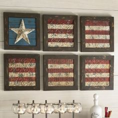 Use one of the old windows at the shop, with scrapbook paper to create the look of a flag in the panes!