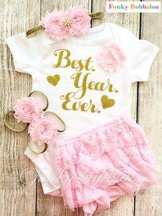 First Birthday Outfit  Gold Glitter & Baby Pink  by FunkyBubbaloo