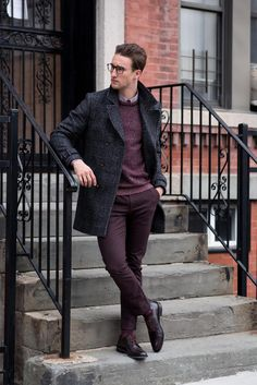 Double-breasted coat + herringbone sweater + dress shirt + burgundy chinos +