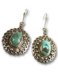 Articolo AYE360 - Earrings in oldened Silver, decorated with embossed motifs and a couple of old Turquoises.