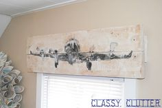 Love this wooden airplane valance and the airplane pillow - and of course the chevron!