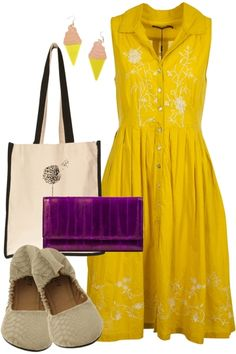 Come alive in this bright spring time outfit. Play in adorable flats and the sweet soft serve ice cream earrings!