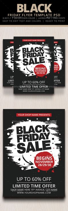 Black Friday Flyer Template Flyer template, Template and Font logo - black flyer template
