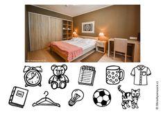 Fotografie ložnice a kupa věcí, které se tam musí někam umístit. Najdete se studenty nejlepší místo?