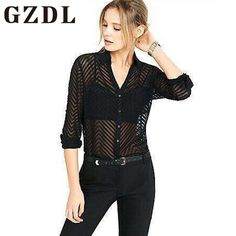 GZDL Summer Fashion Sexy Shirt Blouses Black Button Striped Transparent Deep V Neck Turn Down Collar Top Casual Women Top CL3859 #Affiliate