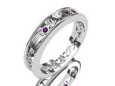 Amethyst ring, white gold,  Diamond, filigree, wedding band, purple, gold, lace, filigree wedding ring, thin, unique, amethyst wedding