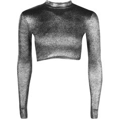 Boohoo Petite Lauren Metallic Rib Turtle Neck Crop Top | Boohoo ($16) ❤ liked on Polyvore featuring tops, ribbed top, metallic crop top, cropped turtleneck, turtleneck tops and ribbed turtleneck