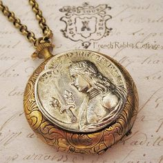 JOAN of ARC LOCKET Necklace / French Catholic Saint Religious Themed Jewelry /Vintage French Holy Medal Pewter Recast by Hand / Mixed Metal