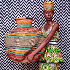 A 'De Engo' basket from the Baba Tree Basket Company in Ghana ( African Textiles, African Fabric, San Francisco Girls, Baskets On Wall, Wall Basket, Black Artists, Pattern Mixing, Ghana, African Fashion