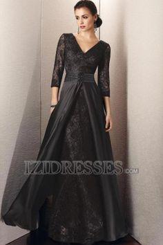A-Linie/Princess-Linie V-Ausschnitt Bodenlang Taft Spitze Brautmutterkleider