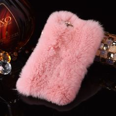 [$3.76] For iPhone 6 Plus & 6s Plus Genuine Rabbit Hair Diamond Encrusted Thickened PC Protective Case(Pink)