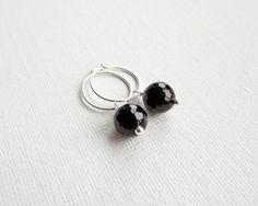 Onyx stone hoop earrings small silver earrings black by tline