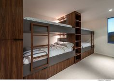 12 examples of bedrooms with built-in bunk beds.